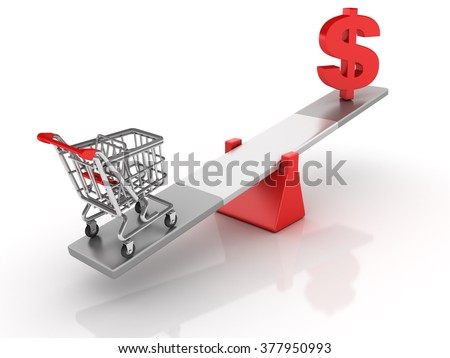 Shopping Cart and Dollar Sign Balancing on a Seesaw - Balance Concept - High Quality 3D Render   - stock photo