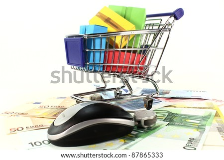 Shopping Cart and Euro notes on a white background - stock photo