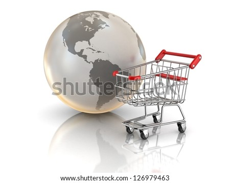 Shopping cart and globe, global market concept - stock photo