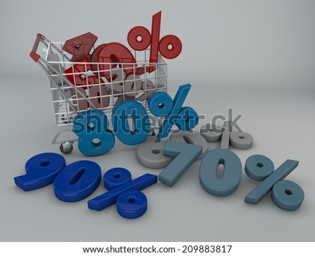 Shopping cart and product, promotion - stock photo