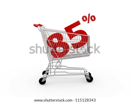 Shopping cart and red eighty five percentage discount, isolated on white background. - stock photo