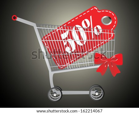 Shopping cart and red fifty percentage discount - stock photo