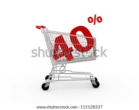 Shopping cart and red forty percentage discount, isolated on white background. - stock photo