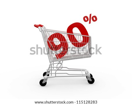 Shopping cart and red ninety percentage discount, isolated on white background. - stock photo