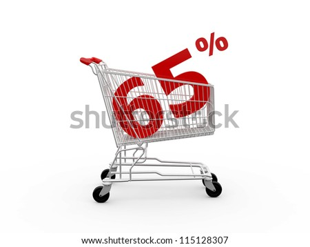 Shopping cart and red sixty five percentage discount, isolated on white background. - stock photo
