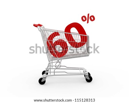Shopping cart and red sixty percentage discount, isolated on white background. - stock photo