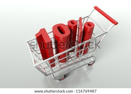 Shopping cart and red ten percent discount, sale concept - stock photo