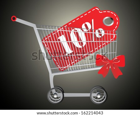 Shopping cart and red ten percentage discount - stock photo