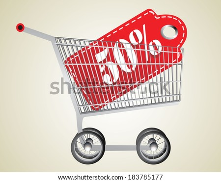 Shopping cart and red twenty five percentage discount - stock photo