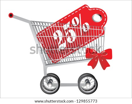 Shopping cart and red twenty five percentage discount, isolated on white background - stock photo