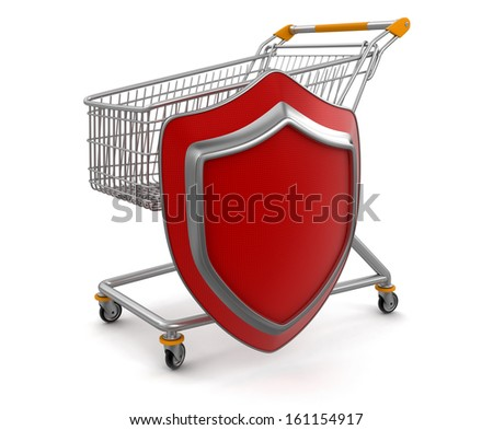 Shopping Cart and Shield  (clipping path included) - stock photo