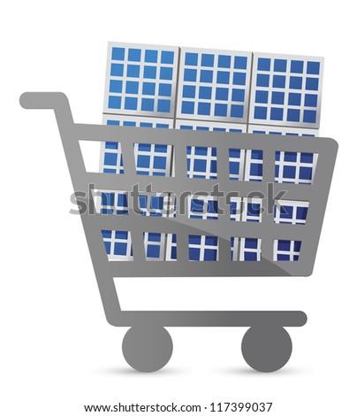 shopping cart and solar panel illustration design - stock photo