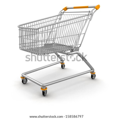 Shopping Cart (clipping path included) - stock photo