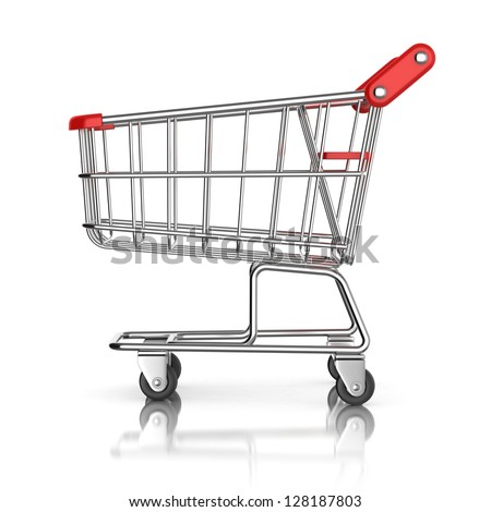 shopping cart 3d icon - stock photo
