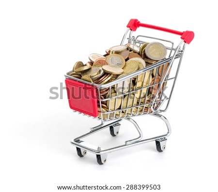 Shopping cart filled with euro coins on a white background - stock photo