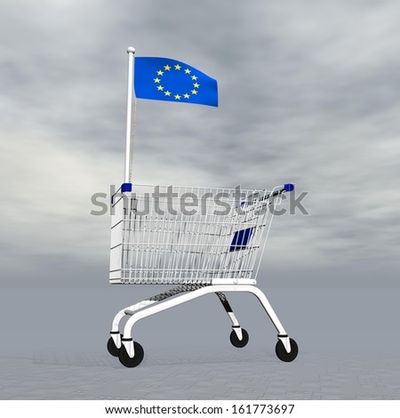 Shopping cart holding european flag to symbolize commerce in Europe into grey cloudy background - stock photo