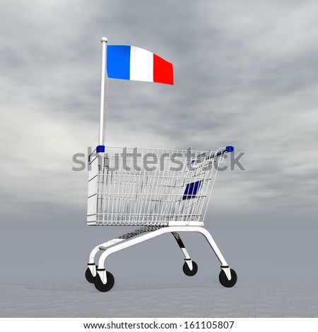 Shopping cart holding french flag to symbolize commerce in France into grey cloudy background - stock photo