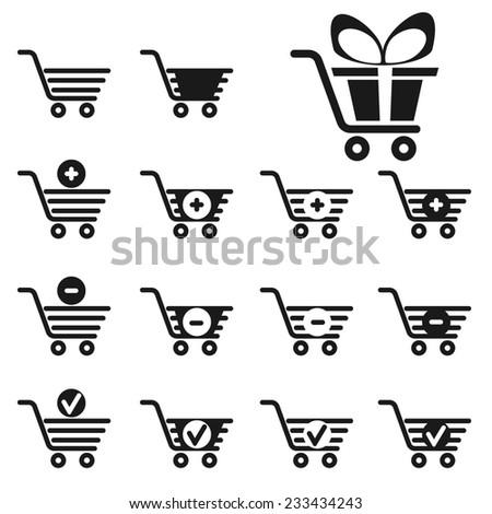 shopping cart icons set for web design - stock photo