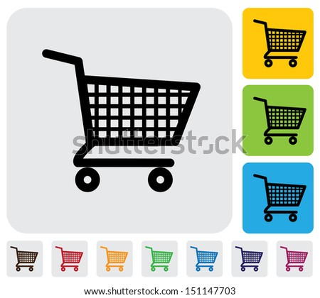 Shopping cart icons ( signs ) for online purchases- graphic. The illustration has simple colorful icons on green,orange & blue backgrounds & is useful for websites, blogs, documents, printing, etc - stock photo