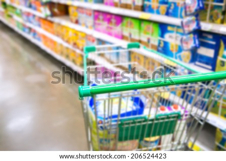 Shopping cart in supermarket - stock photo