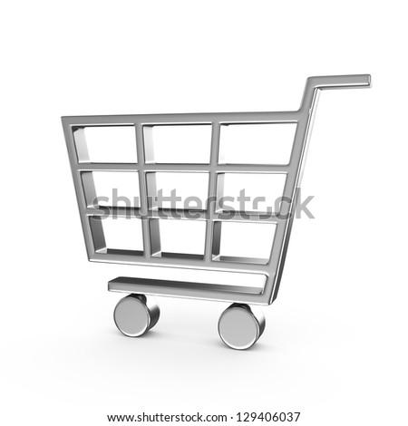 Shopping cart , isolated on white - stock photo