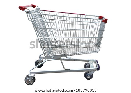Shopping cart isolated on white background. this has clipping path for layer selection. - stock photo