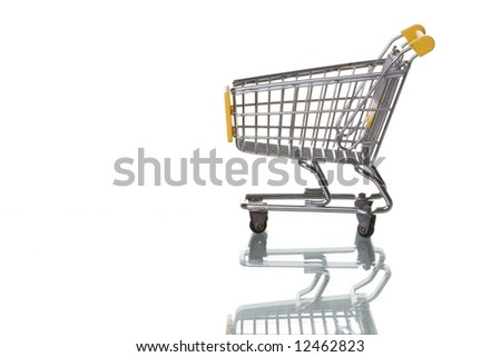 Shopping cart isolated on white with reflection - stock photo