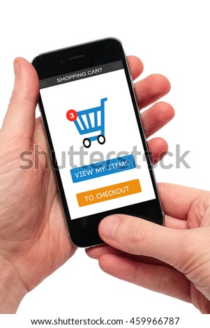 shopping cart on mobile phone - stock photo