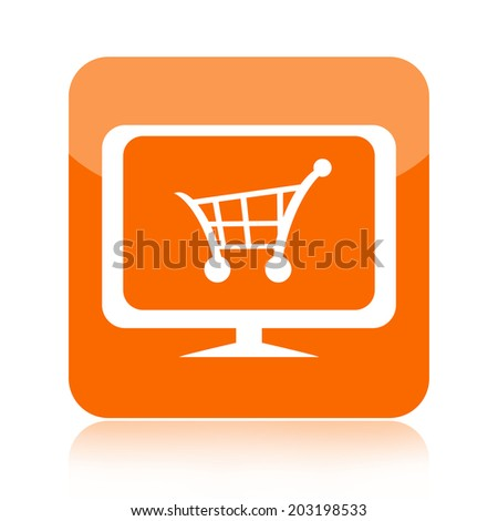 Shopping cart on tv or monitor icon - stock photo