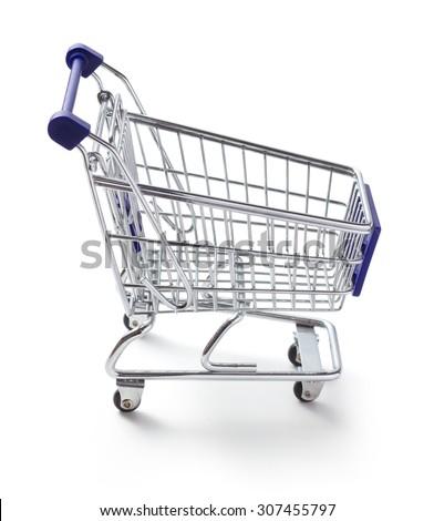 Shopping cart on white background - stock photo