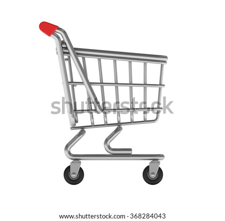 Shopping Cart on White Background - High Quality 3D Render  - stock photo