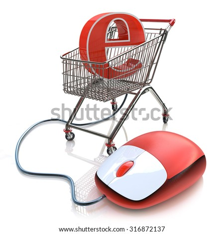 Shopping cart operated computer mouse and symbol of e-commerce  - stock photo