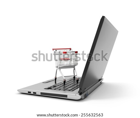 Shopping cart over a laptop computer isolated on a white background. 3d illustration. - stock photo