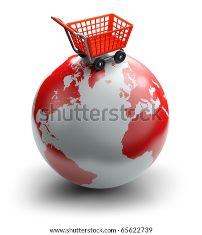 Shopping cart over the world, global market concept - stock photo