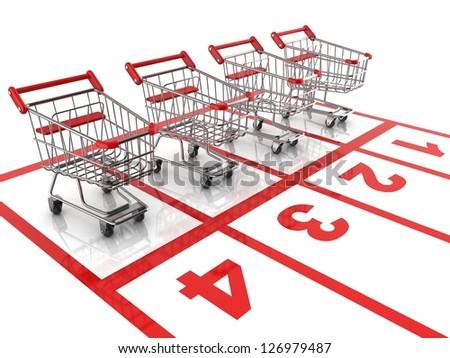 shopping cart race - sale 3d concept - stock photo