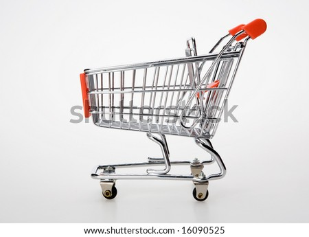 shopping cart side view - stock photo