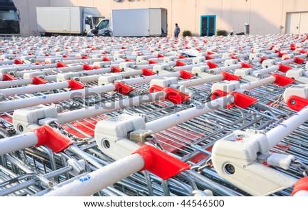 Shopping cart stacked - stock photo