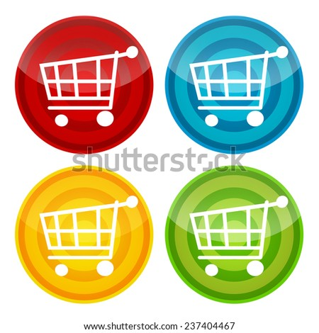 Shopping cart stickers, labels, icons set - stock photo