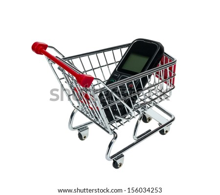 Shopping Cart with a cell phone isolated on white background - stock photo