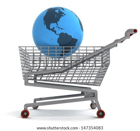 shopping cart with america on globe illustration - stock photo