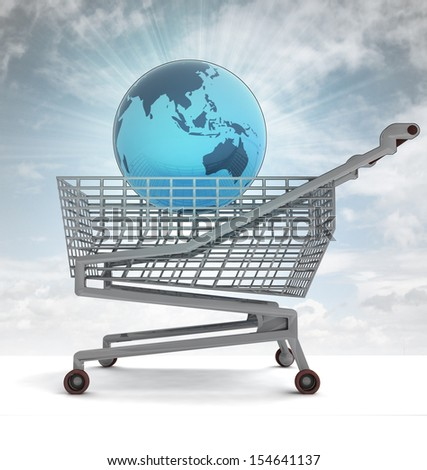 shopping cart with asia on globe and sky flare illustration - stock photo