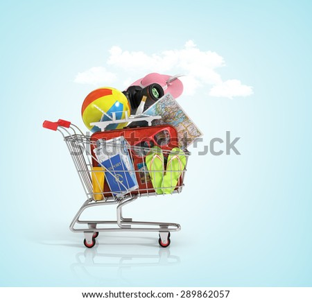 Shopping cart with beach accessories. Summer shopping. Sunbed, sunglasses, world map, beach shoes, sunscreen, air tickets, beach ball, camera, hat and old red suitcase for travel in the shopping cart. - stock photo