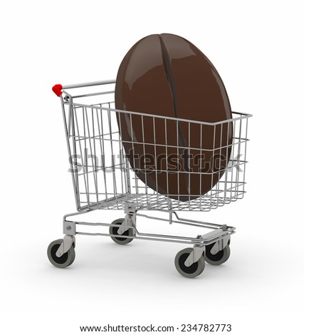 shopping cart with big coffee bean, isolated on white 3d illujstration - stock photo