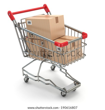 Shopping cart with boxes on white isolated background. 3d - stock photo