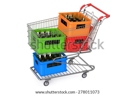 shopping cart with crates beer isolated on white background - stock photo