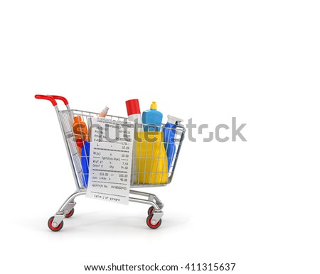Shopping cart with detergent bottles and chemical cleaning supplies isolated on white. 3d illustration - stock photo