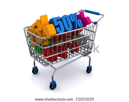 shopping cart with discount prices - stock photo