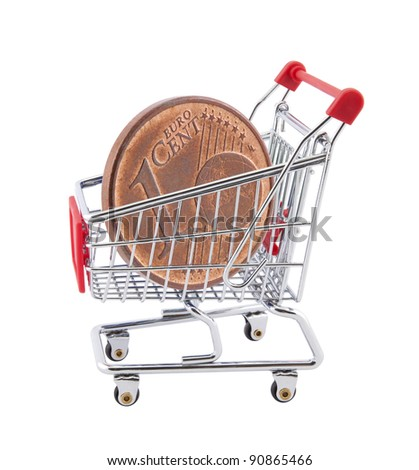 Shopping cart with euro cent coin on white background - stock photo