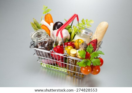 shopping cart with food - stock photo