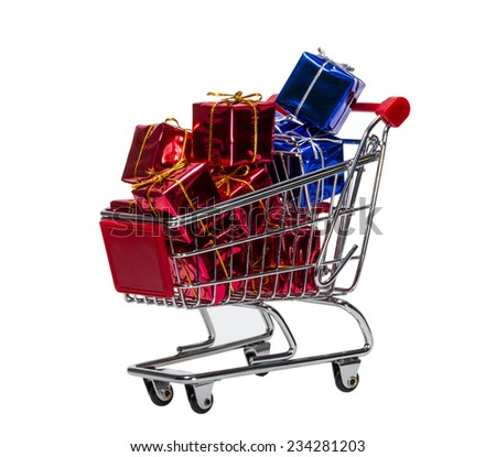 Shopping Cart with gift boxes isolated on white background - stock photo